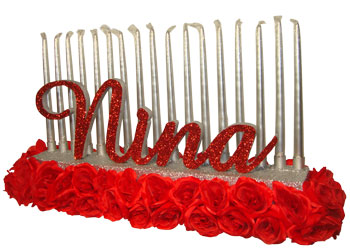 Candelabra-of-Red-Roses-with-Script-Letters-for-sweet-16