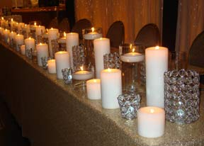 Gold-Sequein-Linens-with-Crystal-Pillar-&-Floating-Candles
